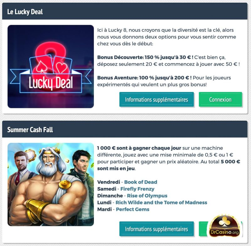 drcasino lucky8 promotions